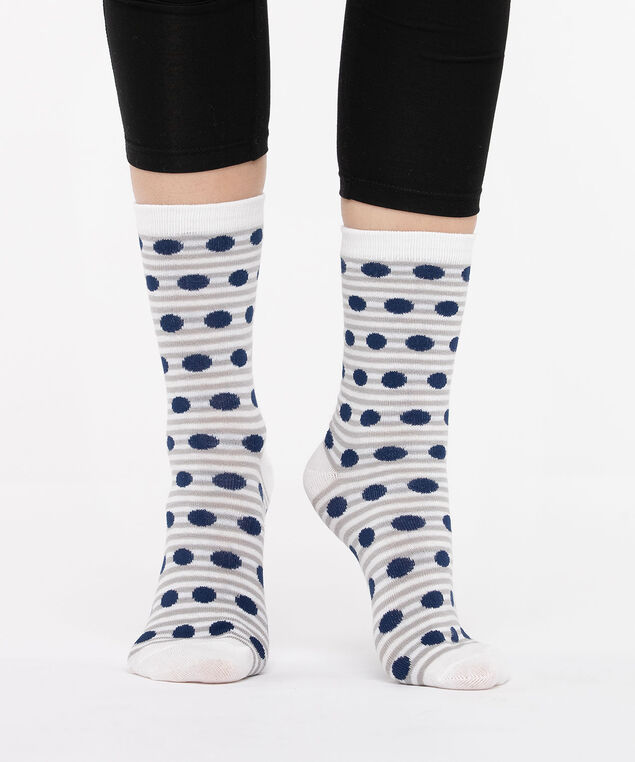 Stripe & Dot Socks, Pearl/Grey/True Navy, hi-res