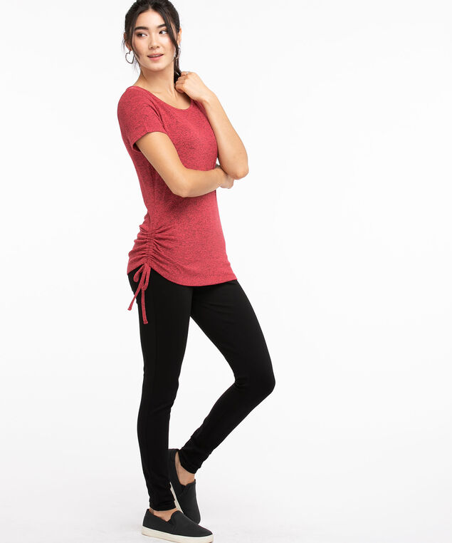 Side Ruched Hacci Tee, Carmine/Black Mix