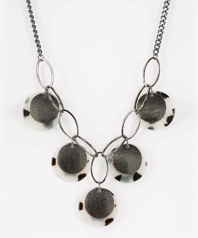 Resin & Brushed Metal Statement Necklace, Hematite/Black/Pearl, hi-res