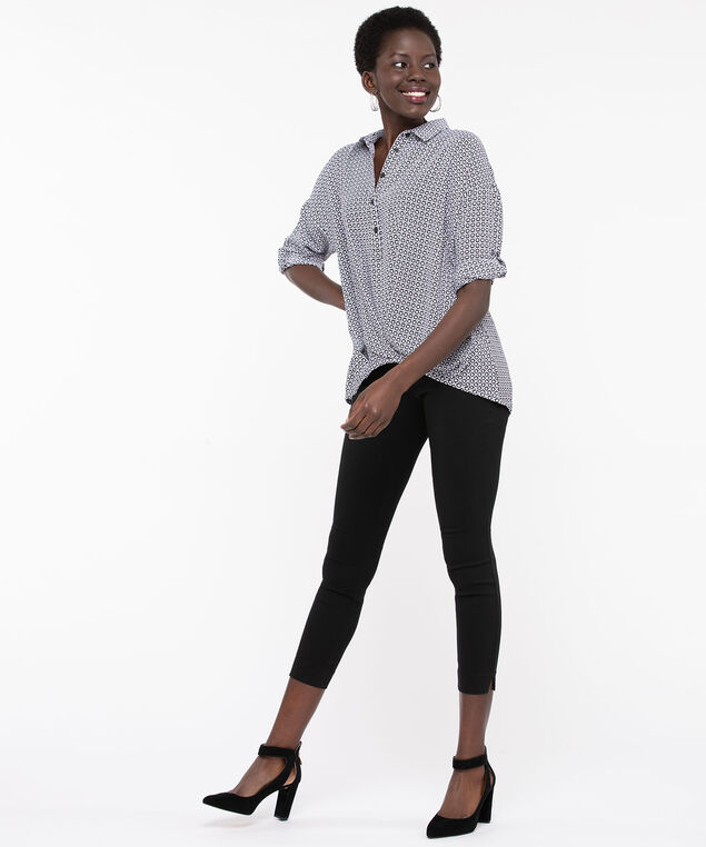 Collared High/Low Hem Blouse, Black/Grey, hi-res