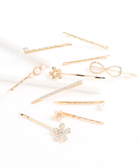 Flower & Pearl Bobby Pin 10-Pack, Gold, hi-res