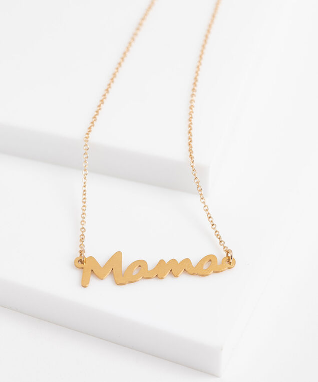 """Mama"" Stationed Pendant Necklace, Gold"