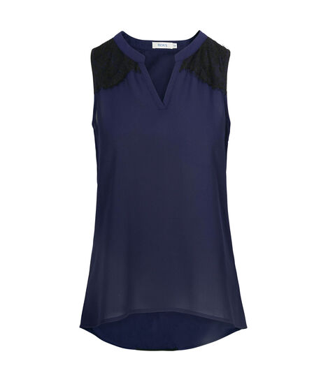 Lace Trim Sleeveless Blouse, Deep Sapphire, hi-res