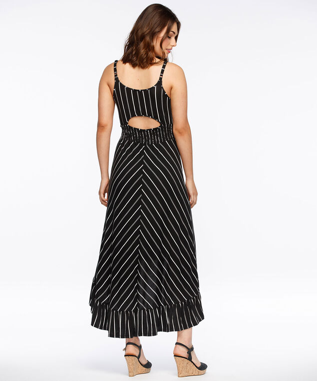 Ruffle Trim High-Low Maxi Dress, Black/White, hi-res