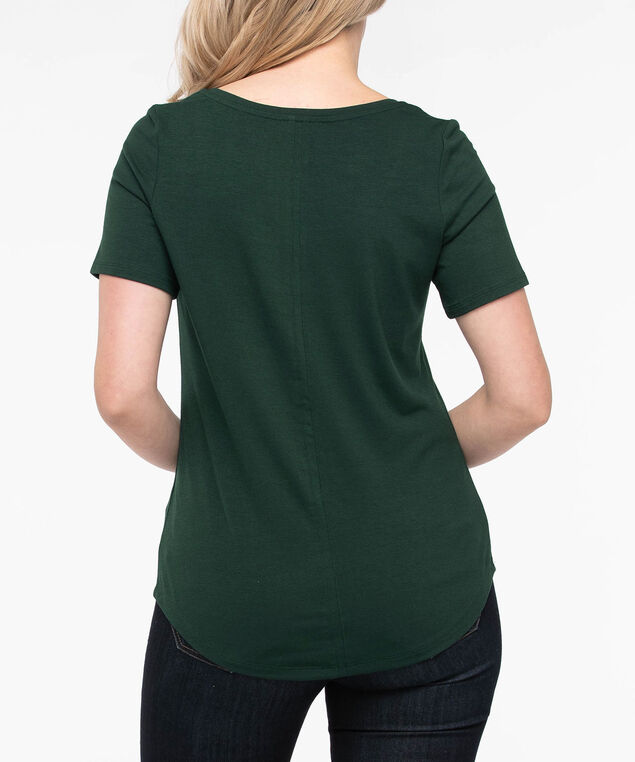 Basic Scoop Neck Pocket Tee, Ivy, hi-res