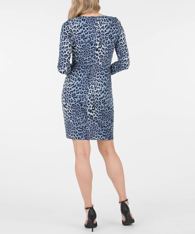 Leopard Print Tie Front Dress, Deep Sapphire/Ink Blue, hi-res