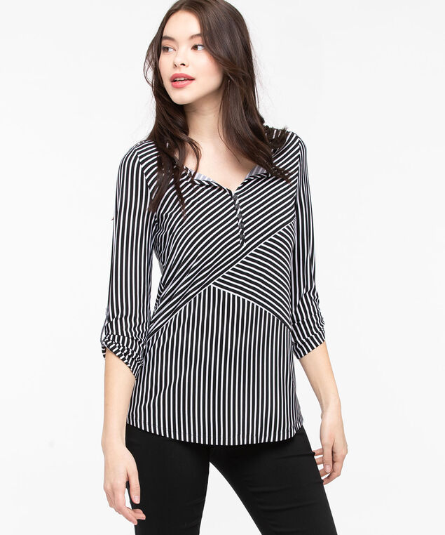 Roll-Tab Split Neck Top, Black/Pearl, hi-res