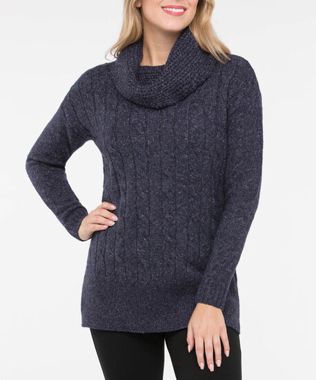 Cable Knit Cowl Neck Tunic Sweater, Deep Sapphire Mix, hi-res