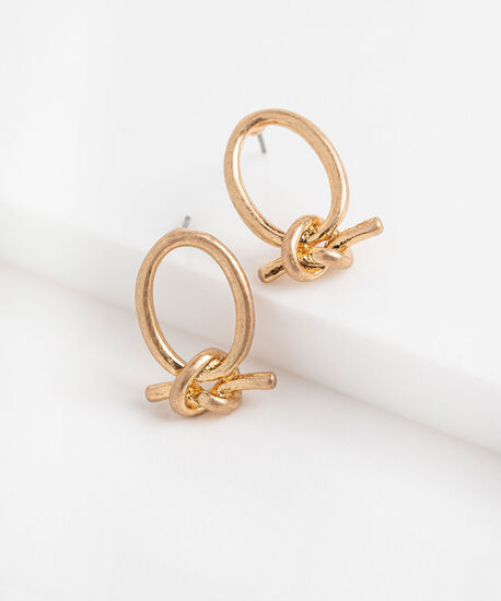 Gold Knotted Hoop Earring, Gold, hi-res