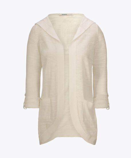 Hooded Roll-Sleeve Cocoon Cardigan, True White, hi-res