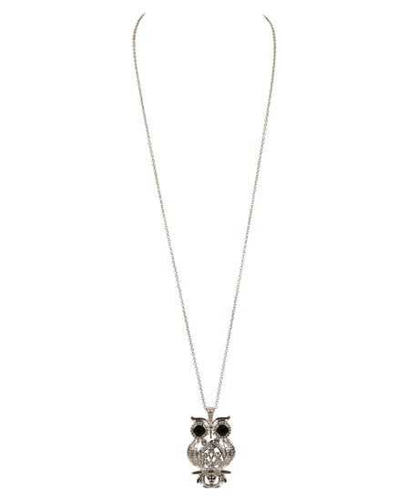 Long Owl Pendant Necklace, Clear/Black/Burnished Silver, hi-res