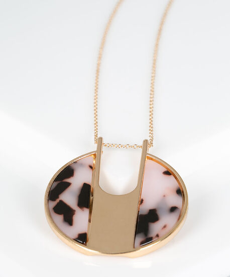 Resin Disc Pendant Necklace, Gold/Dusty Blush, hi-res