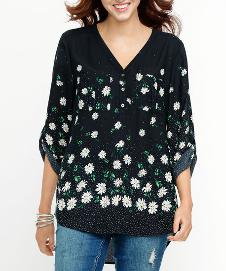Roll Sleeve Henley Blouse, Black/Pearl/Green, hi-res