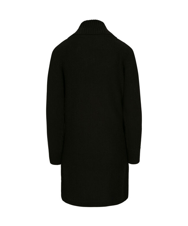 Cable Knit Tunic Cardigan, Black, hi-res