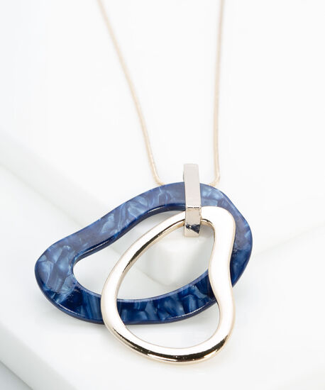 Molten Metal & Resin Hoop Necklace, Gold/Summer Navy, hi-res