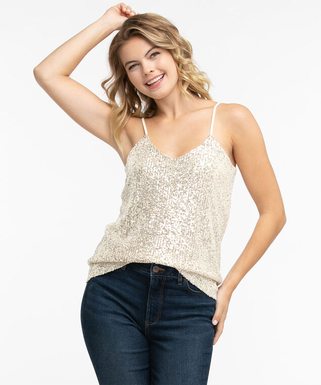 Strappy Sequin Tank Top, Champagne Sequin
