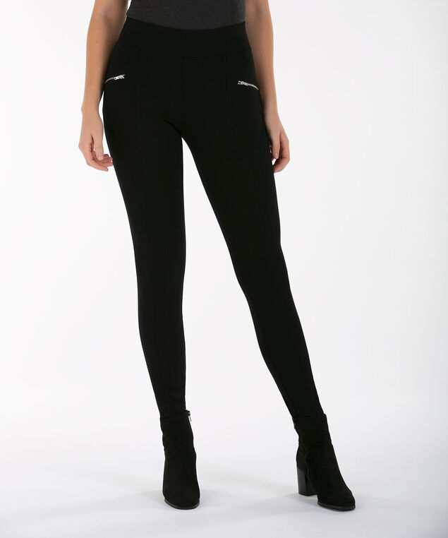 Luxe Ponte Zip Legging, Black, hi-res