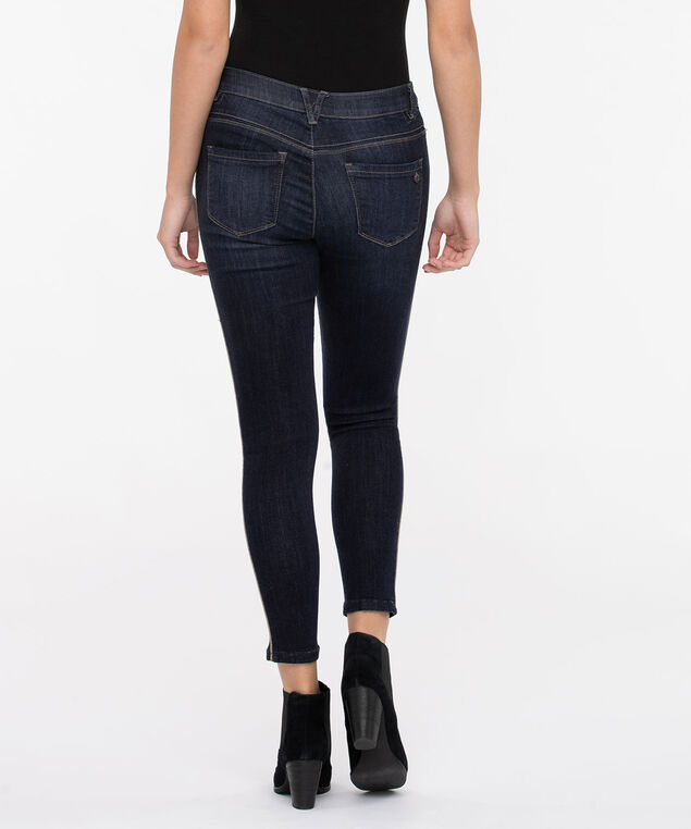 "Democracy ""AB""solution High Rise Side Sparkle Ankle Jean, Dark Rinse, hi-res"