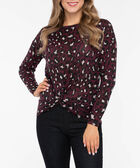 Animal Print Knot Front Top, Berry/Almond/Black, hi-res