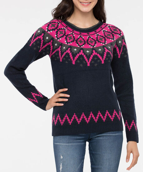 Fair Isle Pullover Sweater, True Navy/Pink/Grey, hi-res