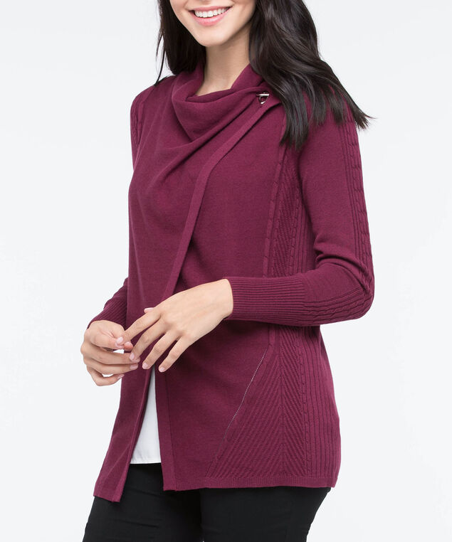 Side Toggle Fine Cable Cardigan, Burgundy, hi-res