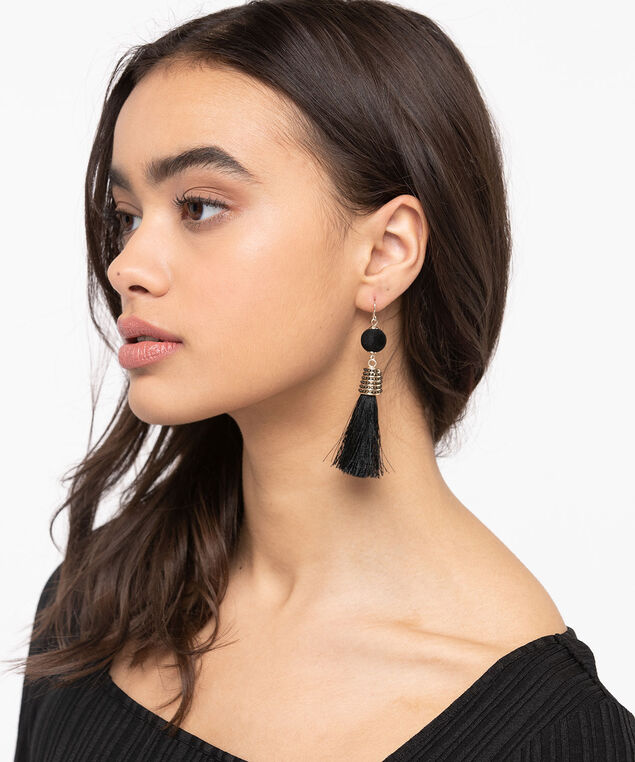 Velvet Ball & Tassel Earring, Black/Gold, hi-res