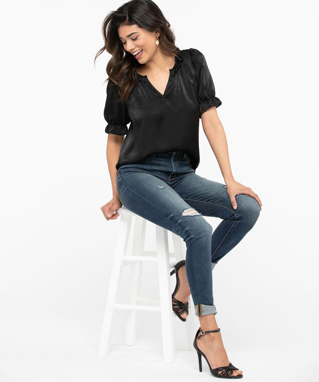 Short Sleeve Ruffled Satin Blouse, Black, hi-res