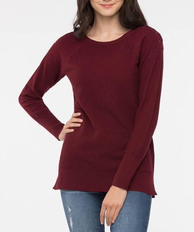 Lace Up Shoulder Boatneck Sweater, Burgundy, hi-res