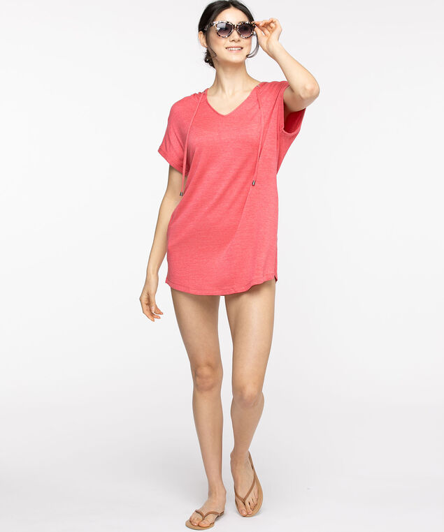 Short Sleeve Hooded Tunic Top, Rouge Red