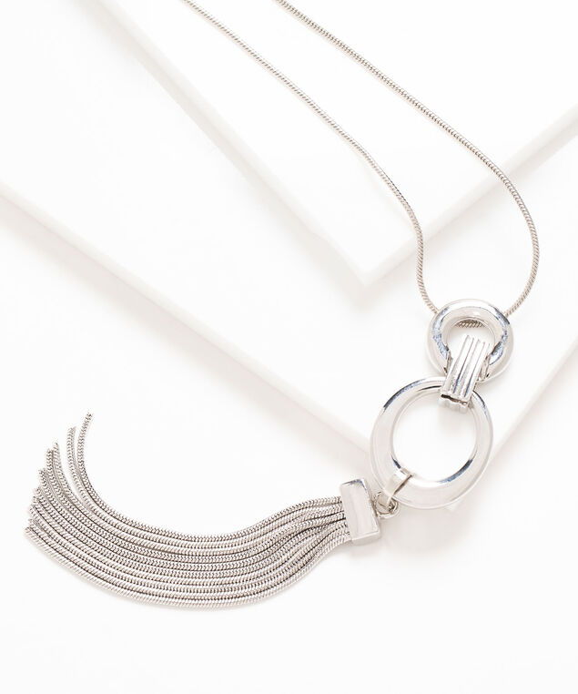 Long Tassel Pendant Necklace, Silver