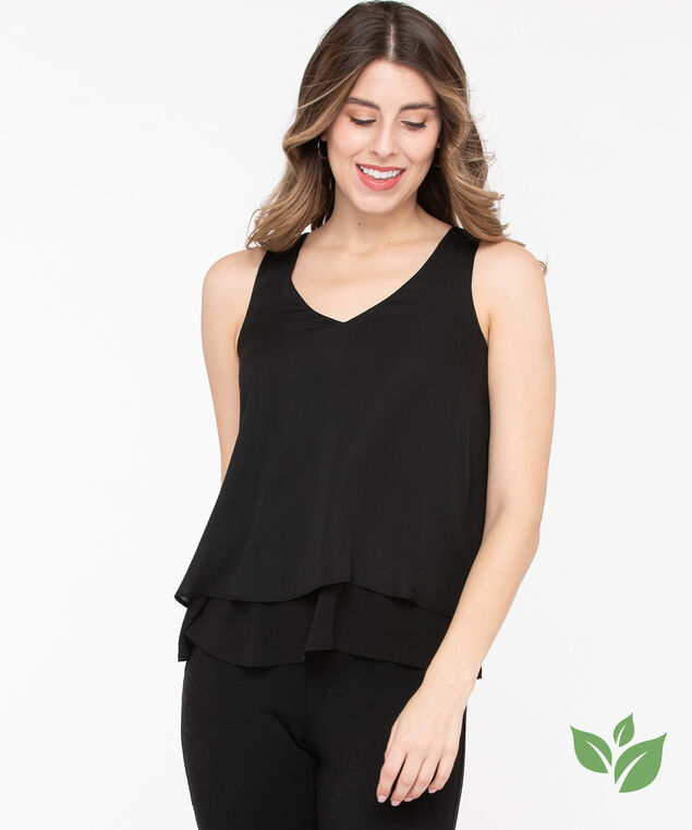 Eco-Friendly Sleeveless Layered Blouse, Black, hi-res