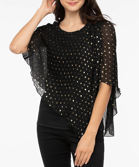 Pleated Cape Overlay Top, Black/Gold Foil, hi-res