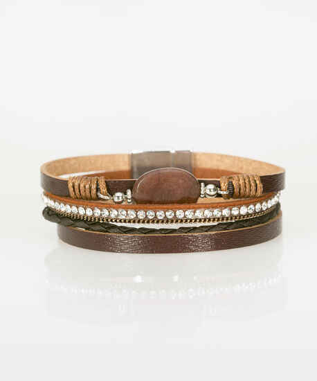 Stone & Faux Leather Braided Bracelet, Brown, hi-res