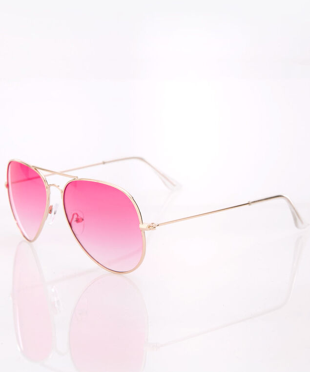 Pink Ombre Aviator Sunglasses, Pink/Gold, hi-res