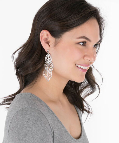 Filigree Leaf Drop Earring, Rhodium, hi-res