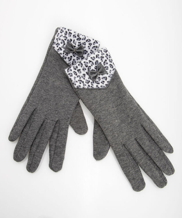 Leopard Texting Gloves, Grey, hi-res