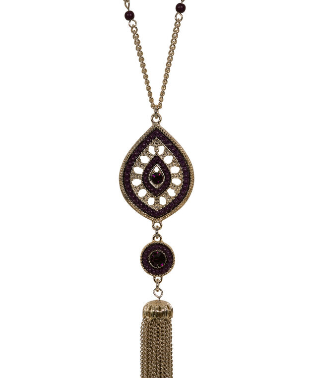 Medallion & Tassel Pendant Necklace, Blackberry/Soft Gold, hi-res