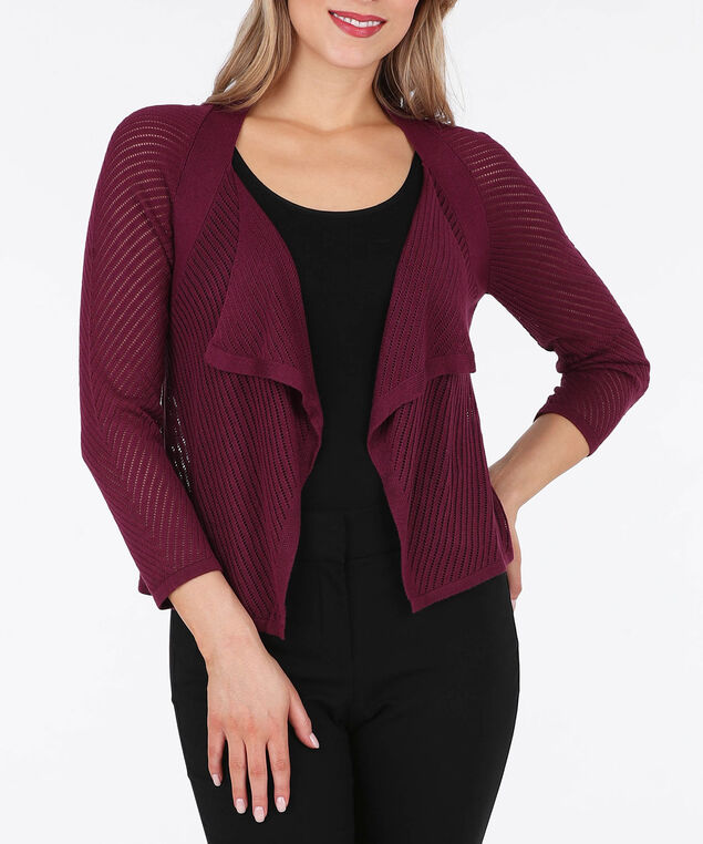 Pointelle Drape Front Cardigan, Black Cherry, hi-res