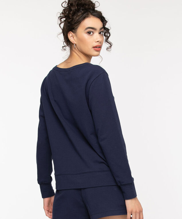 Cotton Blend French Terry Pullover, Peacoat/White Heart