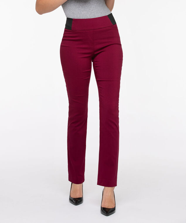 Microtwill Pull On Straight Leg, Burgundy, hi-res