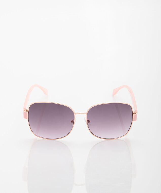 Rose Gold Thin Metal Sunglasses, Rose Petal/Rose Gold, hi-res