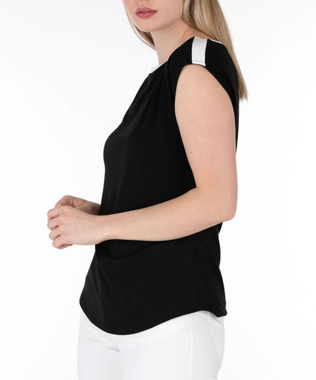 Boatneck Extended Sleeve Top, Black/Pearl, hi-res