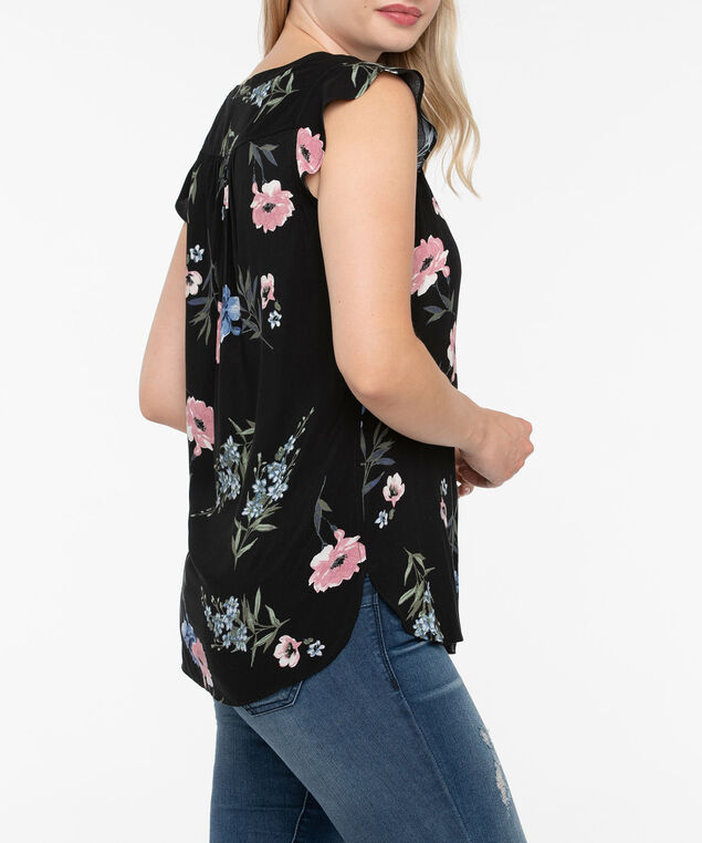 Flutter Sleeve Henley Blouse, Black/Dusty Pink/Sage/Ink Blue, hi-res