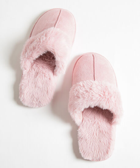 Faux Fur Microsuede Slipper, Misty Rose, hi-res