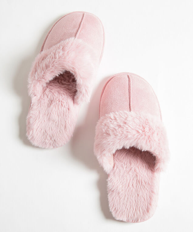 Faux Fur Microsuede Slipper, Misty Rose