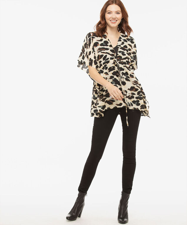 Drawstring Leopard Print Ruana, Almond/Black/True White, hi-res
