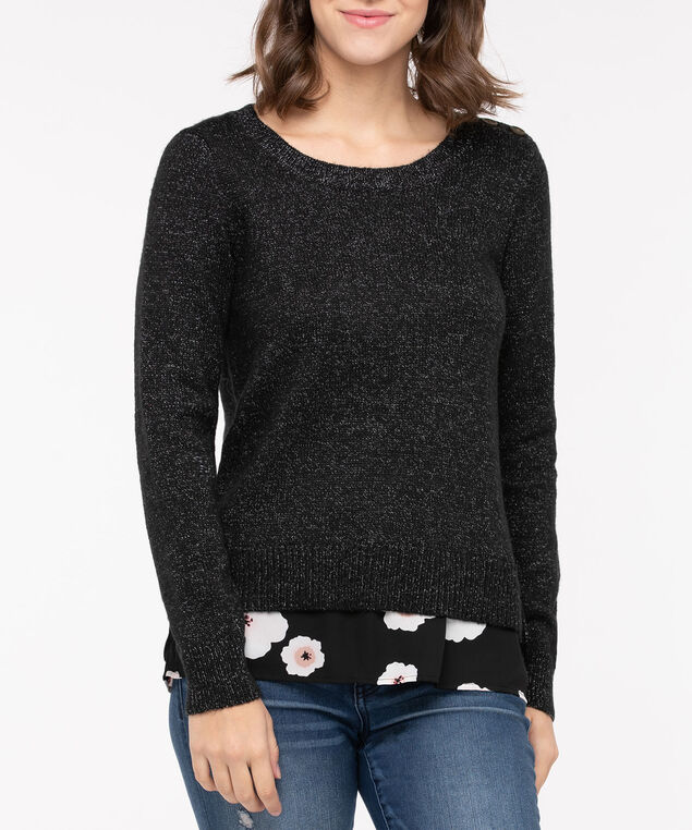 Fooler Hem Button Detail Sweater, Black/Pearl/Dusty Blush, hi-res