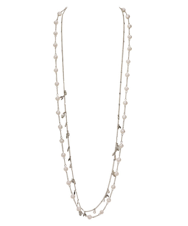 Stationed Pearl Double Strand Necklace, White/Rhodium, hi-res