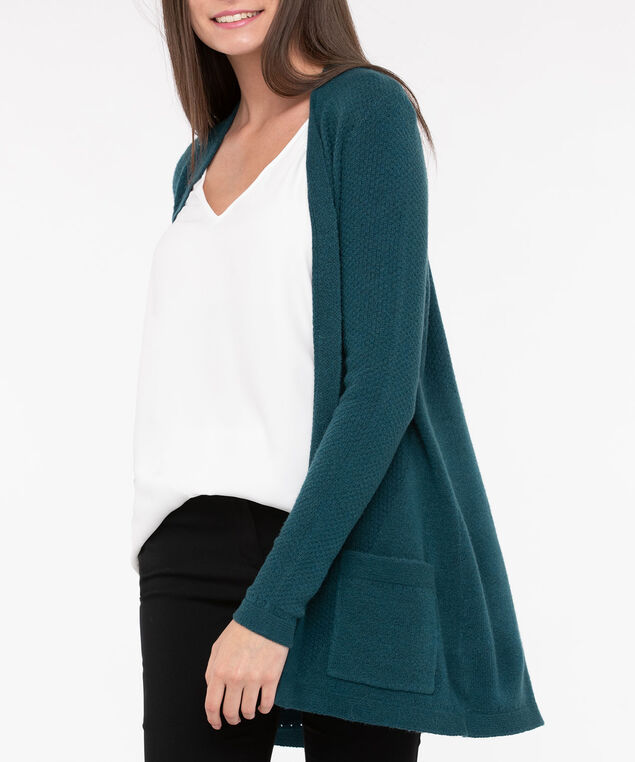 Open Front Long Cardigan, Teal, hi-res