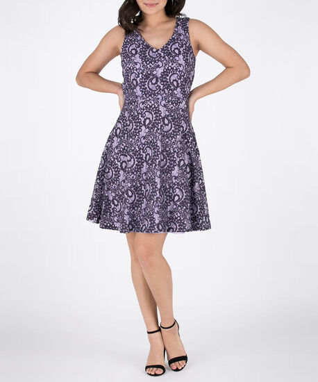 Two-Tone Sleeveless Lace Dress, Iced Violet/Purple, hi-res